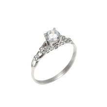 Antique-Style CZ Solitaire Engagement Ring. White Gold