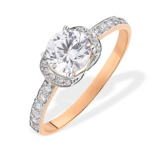 Swarovski CZ Engagement Ring. 585 (14kt) Rose Gold, Rhodium Detailing