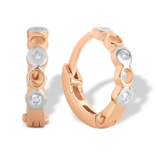 Bezel-set Diamond Huggie Earrings for Babies. 585 (14kt) Rose Gold, Rhodium Detailing