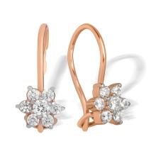 Colorless CZ Snowflake Kids' Earrings. 585 (14kt) Rose Gold, Rhodium Detailing