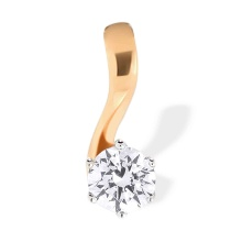 Swarovski CZ Cost Effective Slide Pendant. 585 (14kt) Rose Gold