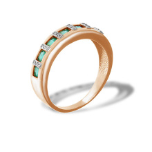 Channel Set Emerald with Diamonds Ring