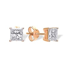Princess Cut CZ Stud Earrings. Cadmium-Free 585 Rose Gold,  Friction Backs