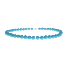 Turquoise Statement Necklace. 8mm Beads, White Gold Clasp