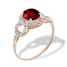 Garnet & CZ Ring. 585 (14kt) Rose Gold, Rhodium Detailing