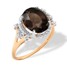 Smokey Quartz and CZ Ring. 585 (14K) Rose Gold