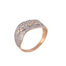 CZ Curved Rose Gold Band With Bay Leaves