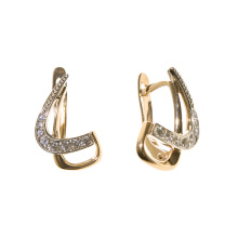 Cubic Zirconia Two Tone Gold Earrings