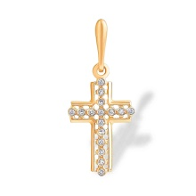 Catholic Rose Gold Cross with Diamonds. 585 (14kt) Rose Gold