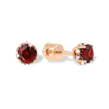 Czech Garnet and CZ Stud Earrings. Cadmium-Free 585 Rose Gold, Screw Backs