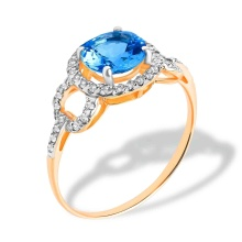 Round Genuine Blue Topaz and CZ Ring. Hypoallergenic 585 (14K) Rose Gold