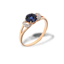 "Sapphire ""Flower of Life"" and Diamond Ring. 585 (14kt) Rose Gold, Rhodium Detailing"