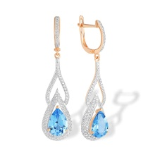 Teardrop Blue Topaz and CZ Earrings. 585 (14kt) Rose Gold