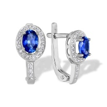 'Royal Gem' Sapphire and Diamond Earrings. 585 (14K) White Gold