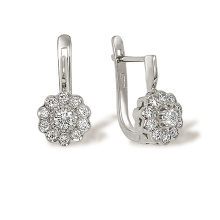Raspberry Motif Certified Diamond Earrings. White Gold