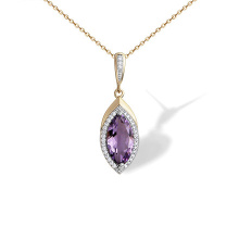 Marquise-shaped Amethyst Pendant. 'Empress' Series, 585 Rose Gold