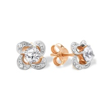Swarovski CZ Flower Stud Earrings. Cadmium-Free 585 Rose Gold,  Friction Backs