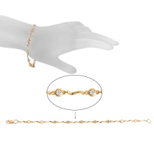 Bezel-set Diamond Station Bracelet. 585 (14kt) Rose Gold