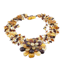 Lifelike Amber Flower Necklace