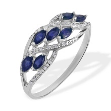 Marquise Sapphire and Diamond Ring. 585 (14kt) White Gold