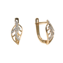Leaf-shape rose gold CZ earrings
