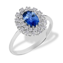 Oval-shaped Sapphire and Diamond Ring. Hypoallergenic 585 (14K) White Gold
