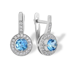Blue Topaz with CZ Halo Leverback Earrings. 'Empress' Series, 585 (14kt) White Gold