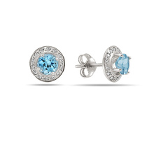 Blue Topaz Halo CZ Stud Earrings. Hypoallergenic 585 (14K) White Gold