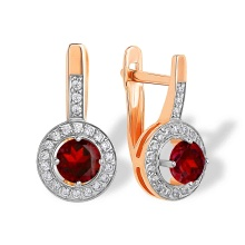 Garnet with CZ Halo Leverback Earrings. 'Empress' Series, 585 (14kt) Rose Gold