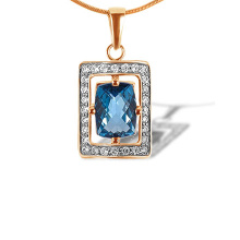 Fancy Cushion Blue Topaz and CZ Pendant. 585 (14kt) Rose and White Gold