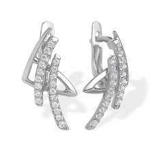 Hieroglyph 'Success' Earrings. 585 (14 K) White Gold