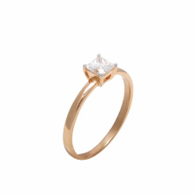 Solitaire Princess Cut CZ Plain Ring. 585 (14K) Rose Gold