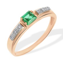Princess Emerald and Round Diamond Ring. 585 (14kt) Rose Gold