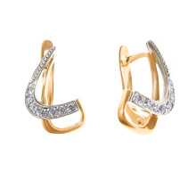 CZ Crescent Earrings. 585 (14kt) Rose and White Gold