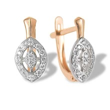 CZ Marquise-shaped Gold Earrings