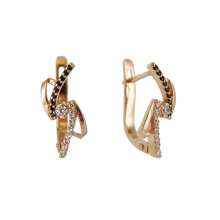 Rose Gold Earrings with Black and White CZ