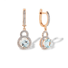 Sky Blue Topaz Dangle Leverback  Earrings