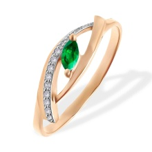 Marquise Emerald and Diamond Open Ring. 585 (14kt) Rose Gold, Rhodium Detailing