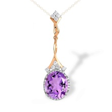 Oval-Shaped Amethyst Cocktail Pendant. 585 (14K) Rose Gold