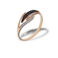 Diamond and Sapphire Eclectic Ring. 585 (14kt) Rose Gold