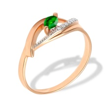 Marquise-shaped Emerald and Diamond Ring. Hypoallergenic 585 (14K) Rose Gold