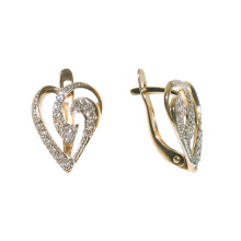Pave CZ Heart Earrings