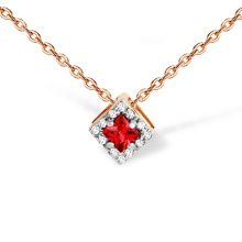 Square Ruby and Diamond Slide Pendant. 585 (14K) Rose Gold
