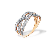 Interwoven CZ Ring. Rose Gold
