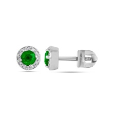Emerald with Diamond Halo Stud Earrings. 585 (14kt) White Gold, Screw Backs