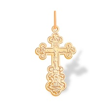 Russian Orthodox Trefoil Cross. Hypoallergenic 585 (14K) Rose Gold