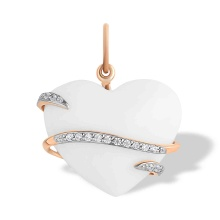 Diamond and Heart-shaped White Onyx Pendant. 585 (14kt) Rose Gold, Rhodium Detailing