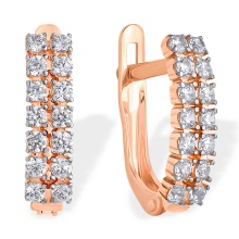 Two-row Swarovski CZ Earrings. 585 (14kt) Rose Gold, Rhodium Detailing