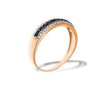 Sapphire and Diamond Striped Ring. 585 (14kt) Rose Gold, Rhodium Detailing