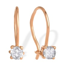 Solitaire CZ Kids Earrings. 585 (14kt) Rose Gold